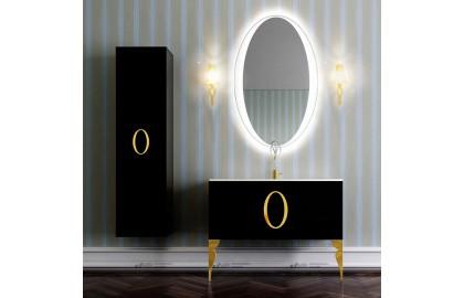 Мебель для ванной La Beaute Kantal 100 черная, фурнитура золото