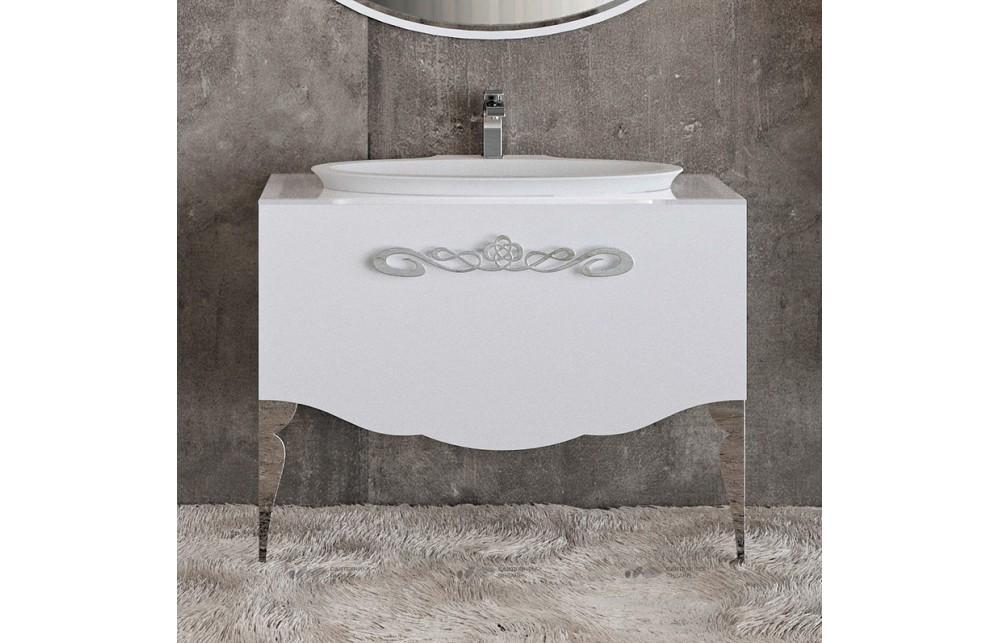 Мебель для ванной La Beaute Charante 100 белая со стеклянной столешницей, фурнитура хром