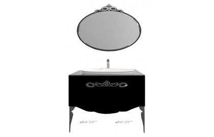 Мебель для ванной La Beaute Charante 100 черная со стеклянной столешницей, фурнитура хром
