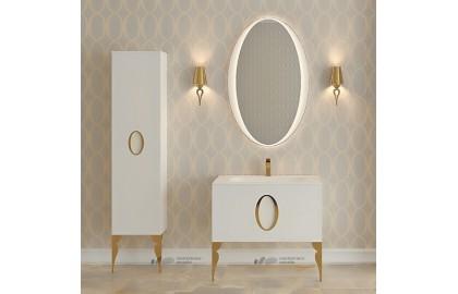 Мебель для ванной La Beaute Kantal 85 белая, фурнитура золото