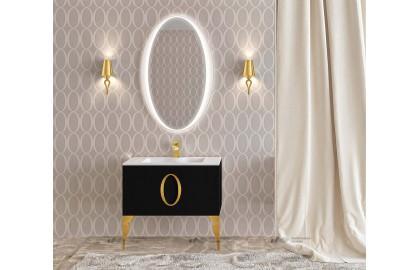 Мебель для ванной La Beaute Kantal 85 черная, фурнитура золото