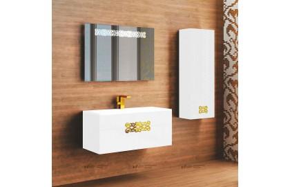 Мебель для ванной La Beaute Moselle 90 белая, фурнитура золото