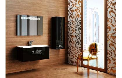 Мебель для ванной La Beaute Moselle 90 черная, фурнитура хром