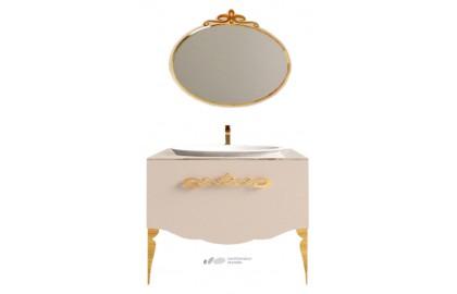 Мебель для ванной La Beaute Charante 100 бежевая со стеклянной столешницей, золото
