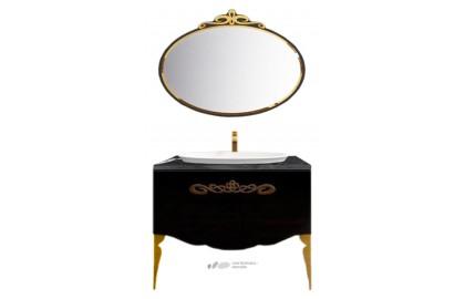 Мебель для ванной La Beaute Charante 100 черная со столешницей marchina nero, золото