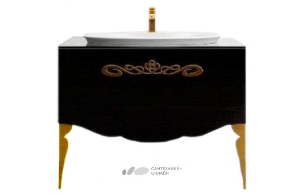 Мебель для ванной La Beaute Charante 100 черная со стеклянной столешницей, фурнитура золото