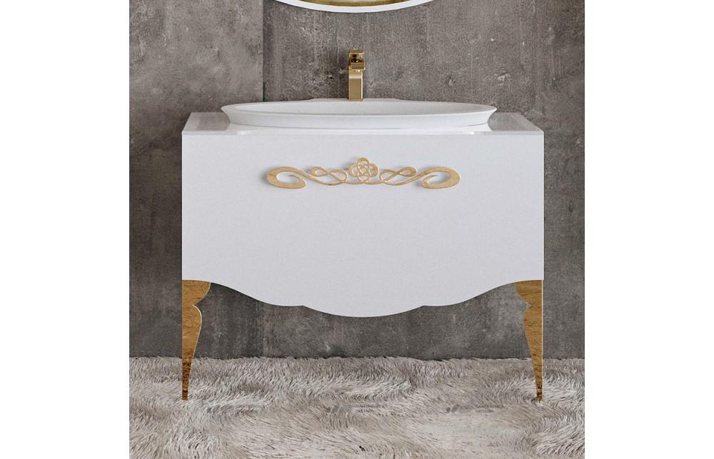 Мебель для ванной La Beaute Charante 100 белая со стеклянной столешницей, фурнитура золото
