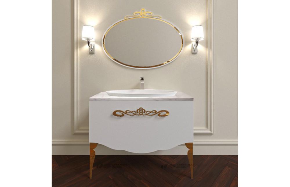 Мебель для ванной La Beaute Charante 100 белая со столешницей bianco statuaretto, золото